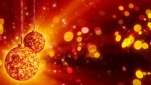two orange christmas balls loop rotating Stock Video Footage