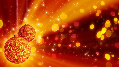 two orange christmas balls loop rotating Animation