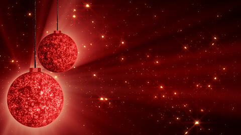 red christmas balls and glitter particles loop Stock Video Footage