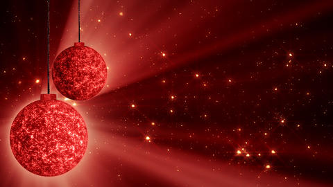 red christmas balls and glitter particles loop Animation