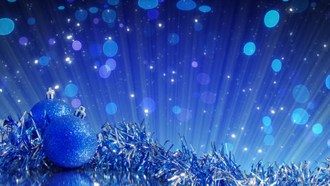 blue christmas tree decoration and glitter particl Animation