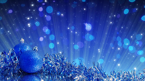 blue christmas tree decoration and glitter particl Stock Video Footage