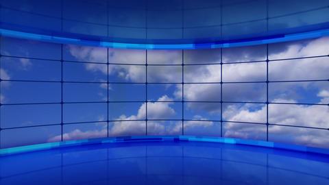 clouds on screens in blue virtual studio loop Stock Video Footage
