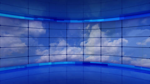 clouds on screens in blue virtual studio loop Animation
