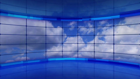 clouds on screens in blue virtual studio loop Stock Video Footage