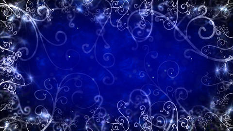 blue flourishes frame loop background Stock Video Footage