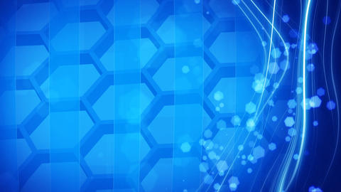 cells and hexagons looping blue background Stock Video Footage