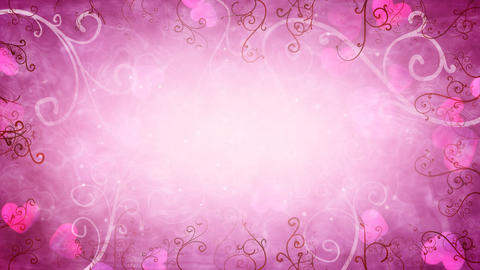 hearts and flourishes loop romantic background Stock Video Footage