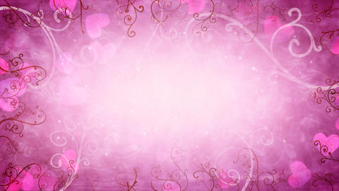 hearts and flourishes loop romantic background Animation