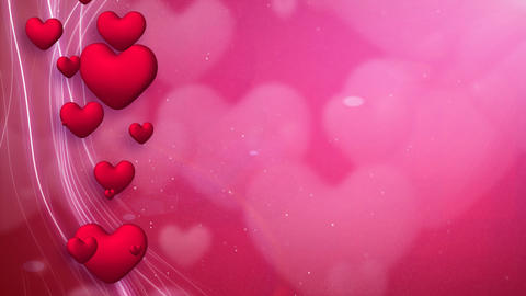 lines and hearts red romantic loop background Stock Video Footage