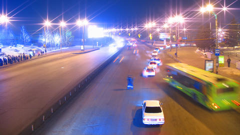 cars on night city road timelapse Stock Video Footage