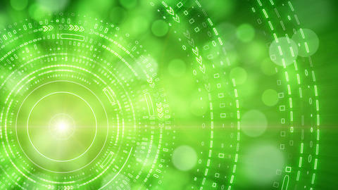 green abstract background lights and tech circles Stock Video Footage