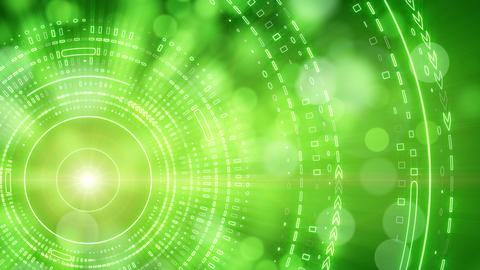 green abstract background lights and tech circles  Animation