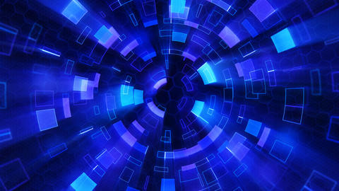 blue shiny circular segments blinking loop Animation