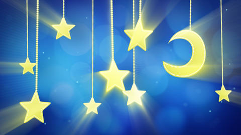 night time decoration moon and stars loop Animation