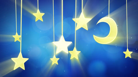 night time decoration moon and stars loop Stock Video Footage