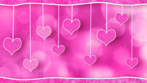 pink hearts dangling on strings love loop backgrou Animation