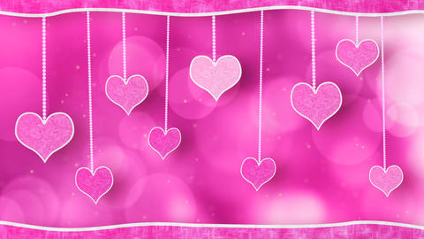 pink hearts dangling on strings love loop backgrou Stock Video Footage