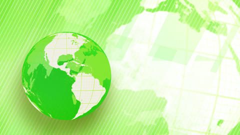 green background globe spinning loop Animation