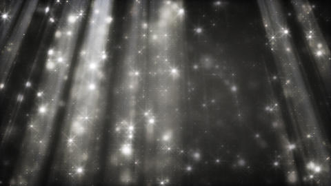 black and white particles in light beams loop Animation