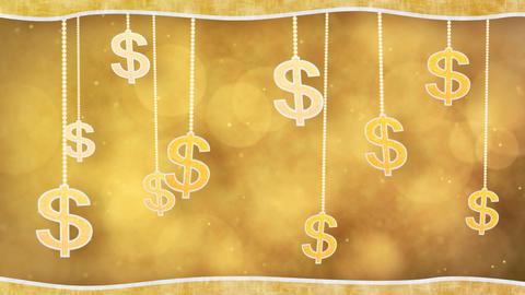 orange dollar signs dangling on strings loop backg Stock Video Footage