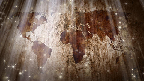 world map and particles loopable grunge background Stock Video Footage