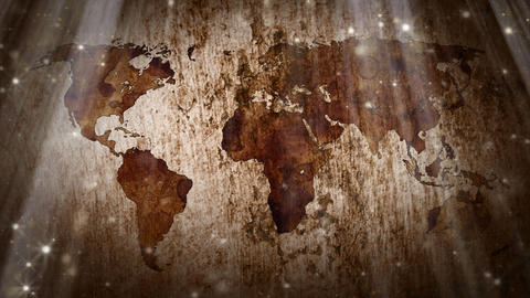 world map and particles loopable grunge background Animation