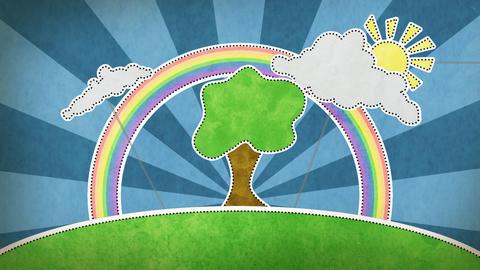 summer scene with rainbow decoration loop Stock Video Footage