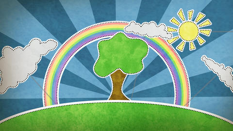 summer scene with rainbow decoration loop Animation