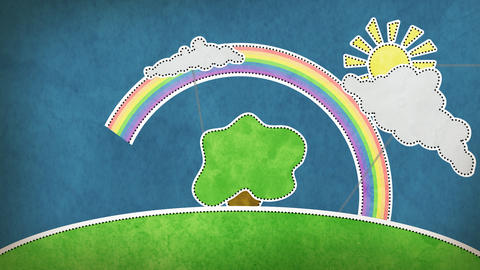 summer scene with rainbow decoration loop Stock Video Footage