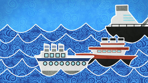 ships in the sea loopable animation Stock Video Footage