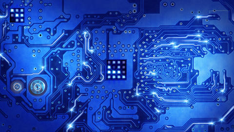 computer circuit board blue loopable background Animation