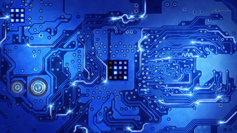 computer circuit board blue loopable background Stock Video Footage