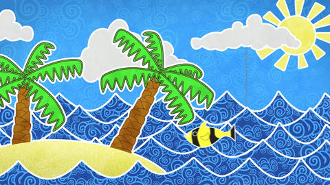 tropical island and palms loop animation Stock Video Footage