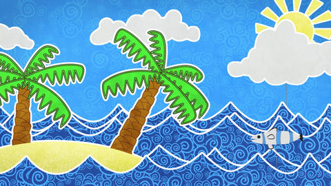 Tropical Island And Palms Loop Animation stock footage