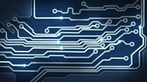 blue circuit board providing signals loop hi-tech  Animation