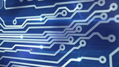 blue circuit board providing signals 3d animation Stock Video Footage