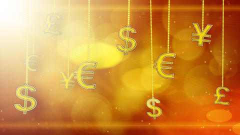 shiny currency signs dangling on strings loop back Stock Video Footage