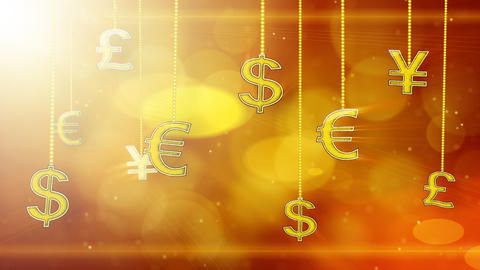 shiny currency signs dangling on strings loop back Animation