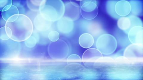 blue circle bokeh lights and reflection on ice loo Stock Video Footage