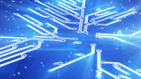 growing circuit board blue 3d Animation