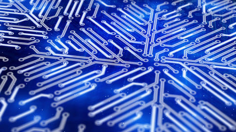 growing circuit board blue 3d Stock Video Footage