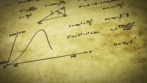 math physics formulas on old paper tilting loop Animation