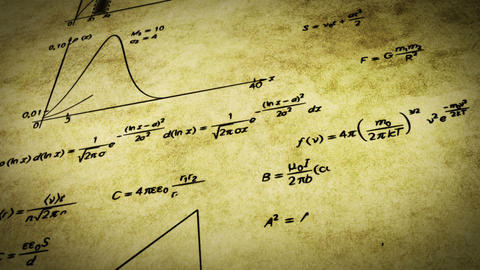 math physics formulas on old paper tilting loop Stock Video Footage