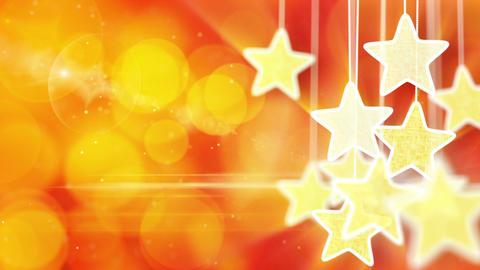 gold stars on red bokeh lights background loop Stock Video Footage