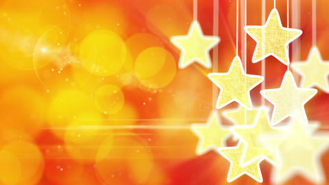 gold stars on red bokeh lights background loop Animation