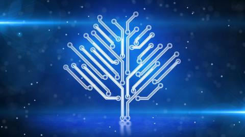 blue electronic hi-tech tree growing loop Stock Video Footage