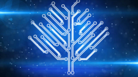 blue electronic hi-tech tree growing loop Stock Video Footage