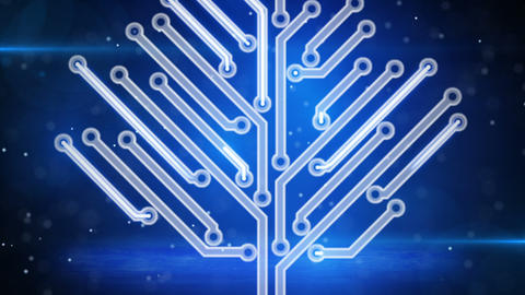 blue electronic hi-tech tree growing loop Animation