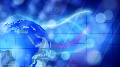 globe and graphs blue businees loopable background Stock Video Footage